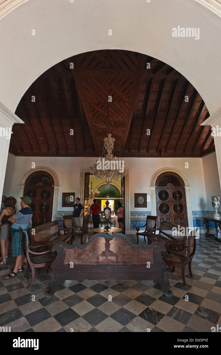 Vertical view inside the Romantic Museum (Museo Romantico) in Trindad, Cuba - Stock Image