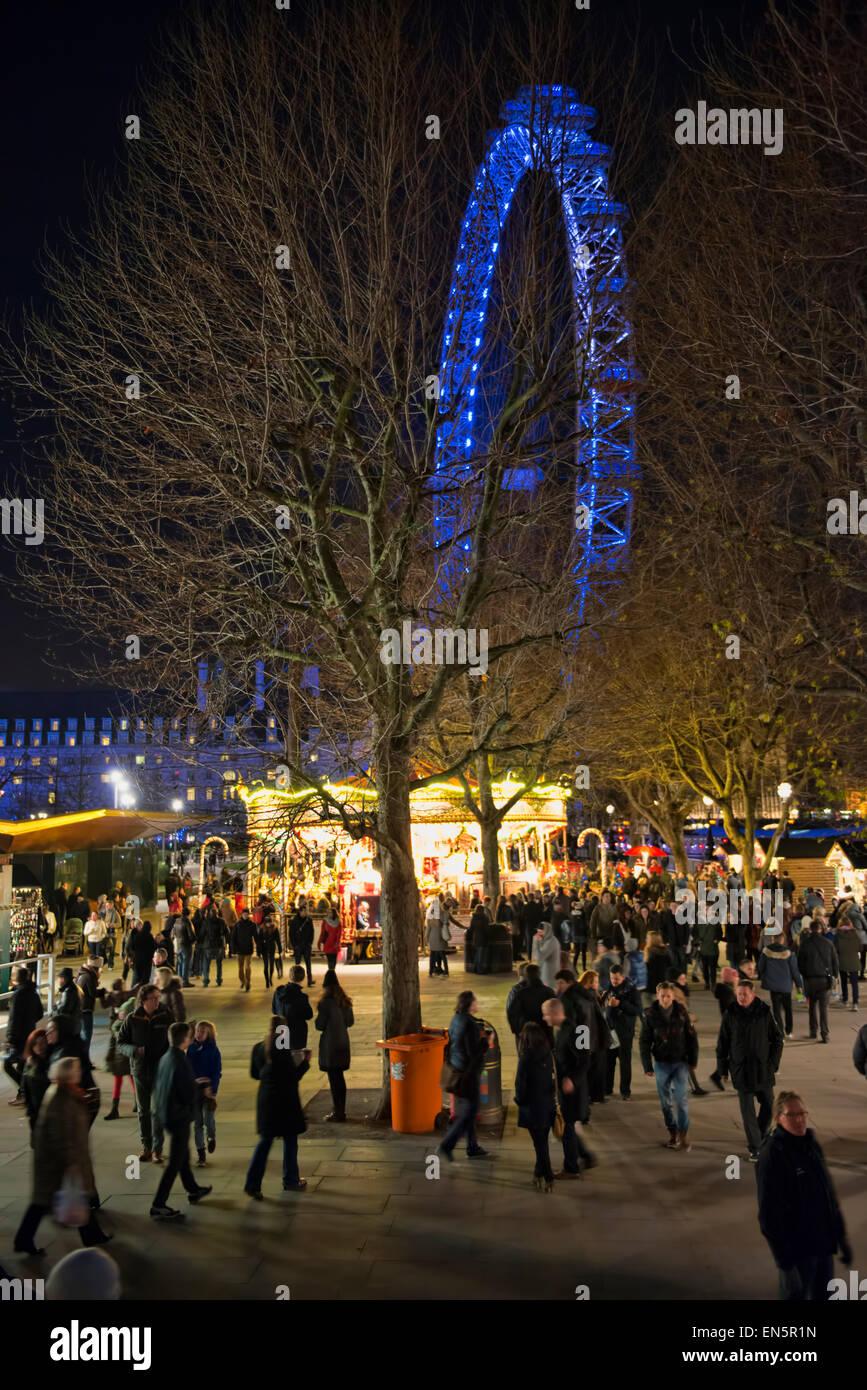 Christmas fair at the South bank - Stock Image