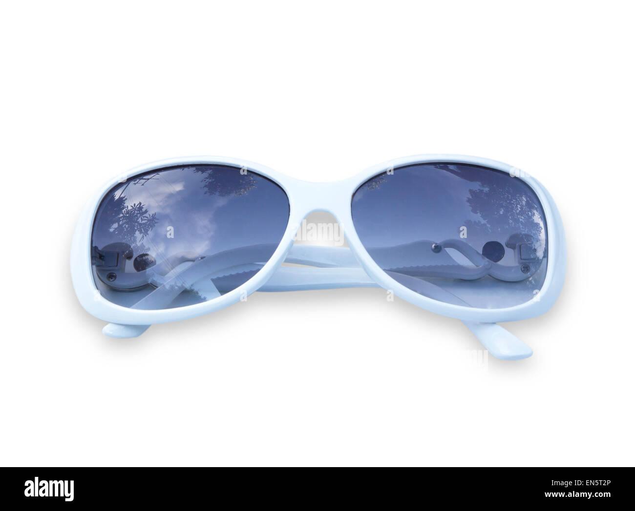 Old white sunglasses isolated on white background. Stock Photo