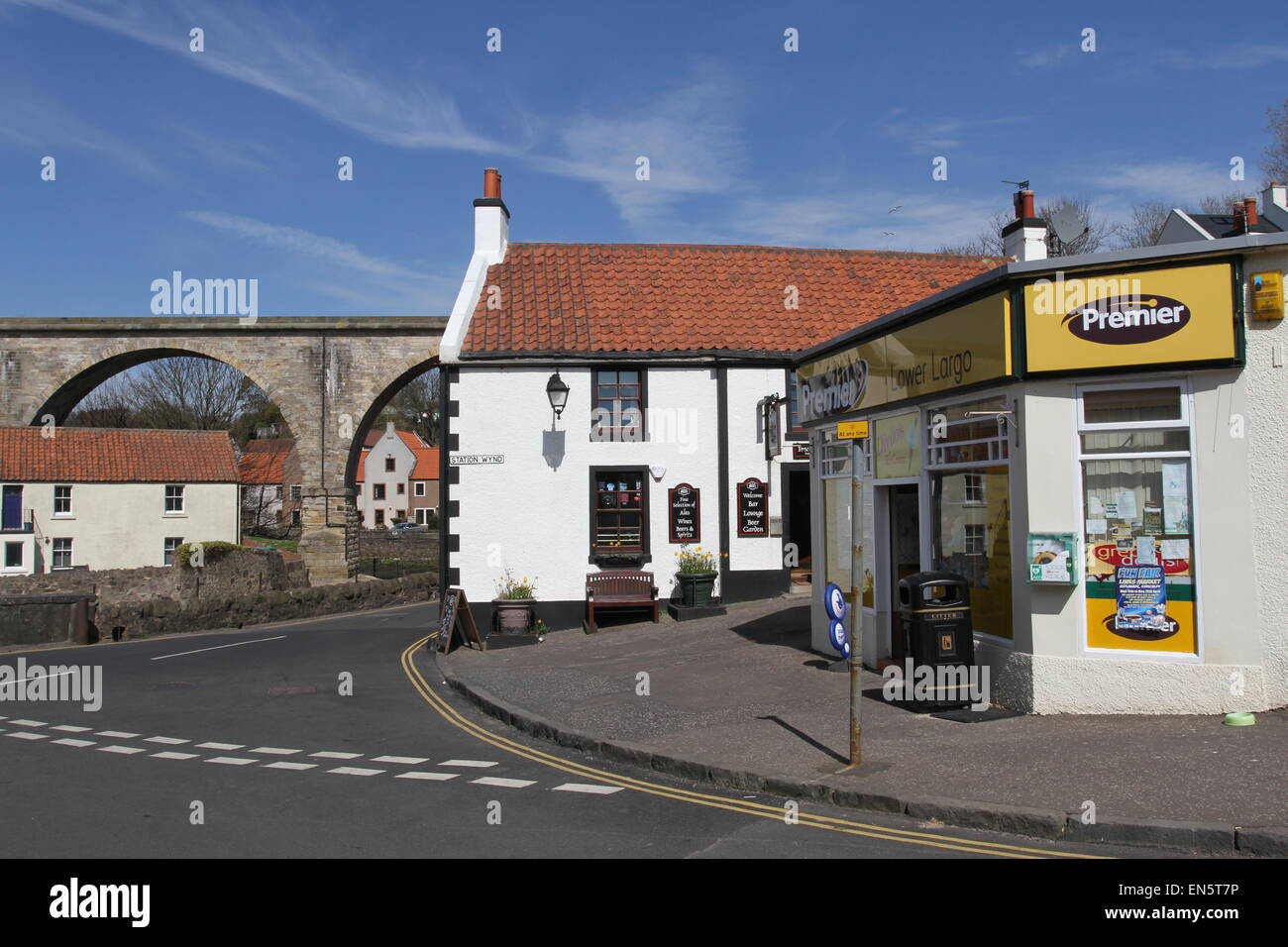 Village shop, Viaduct and Railway Inn Lower Largo Fife Scotland  April 2015 - Stock Image