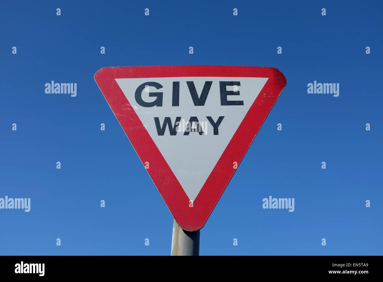 Give Way road sign against a blue background UK - Stock Image