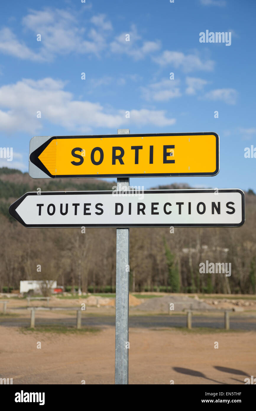 A road sign in Aubusson d'Auvergne, a small village in France. - Stock Image