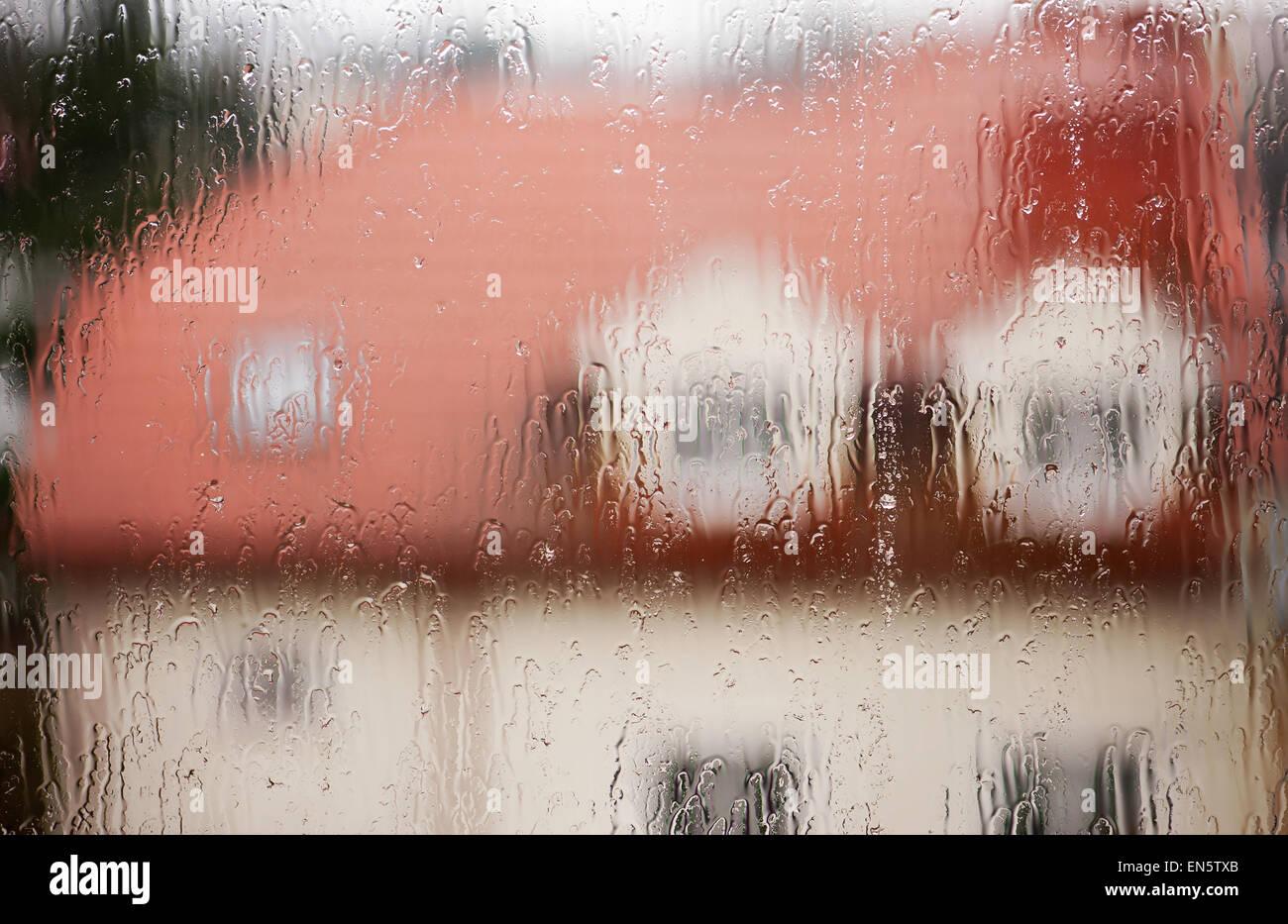 Rainy teary window abstract - Stock Image
