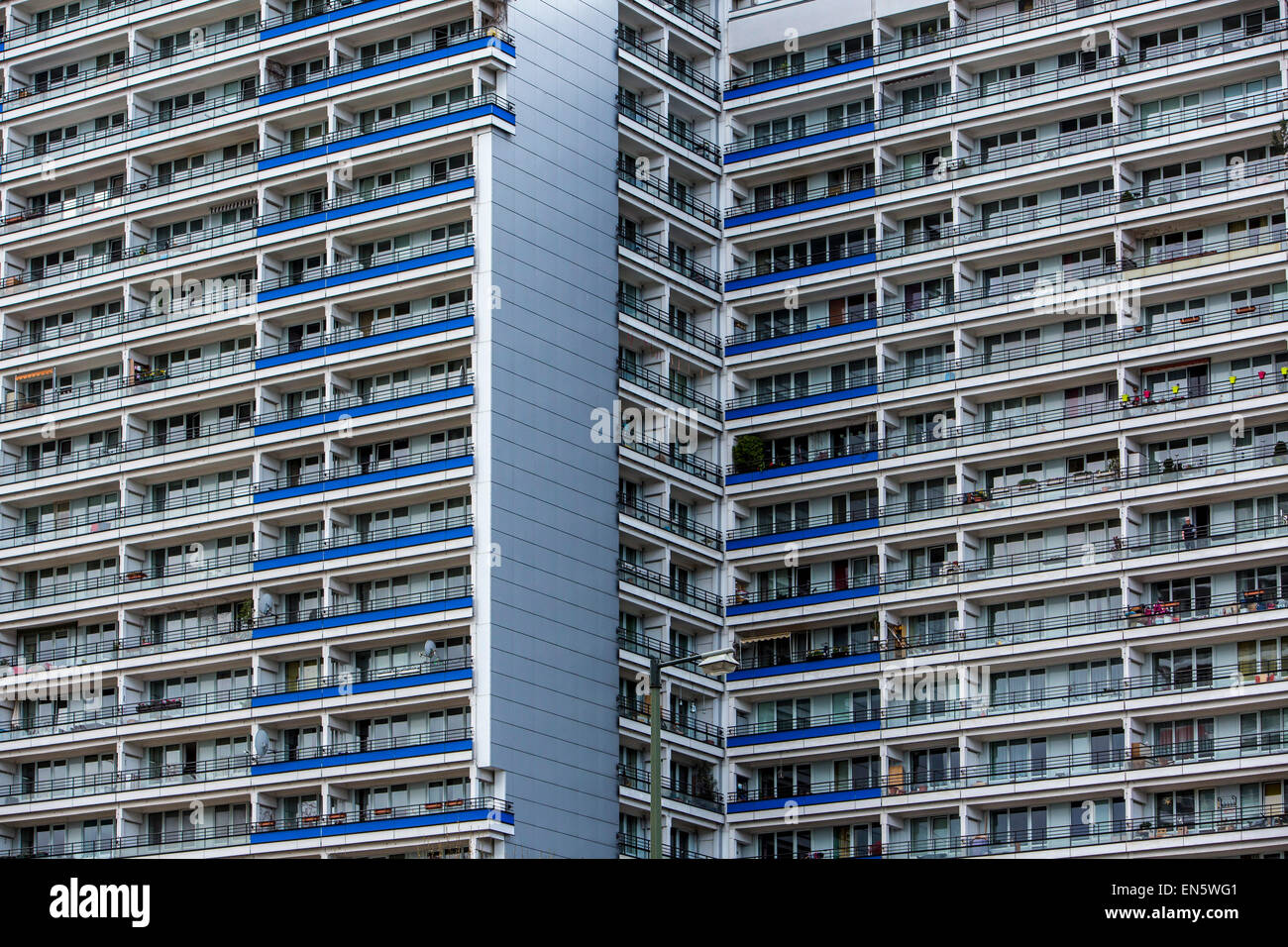 Apartment sky scrapers, up to 25 floors, build in ther 1960's, east Berlin, over 2000 apartments, Leipziger - Stock Image