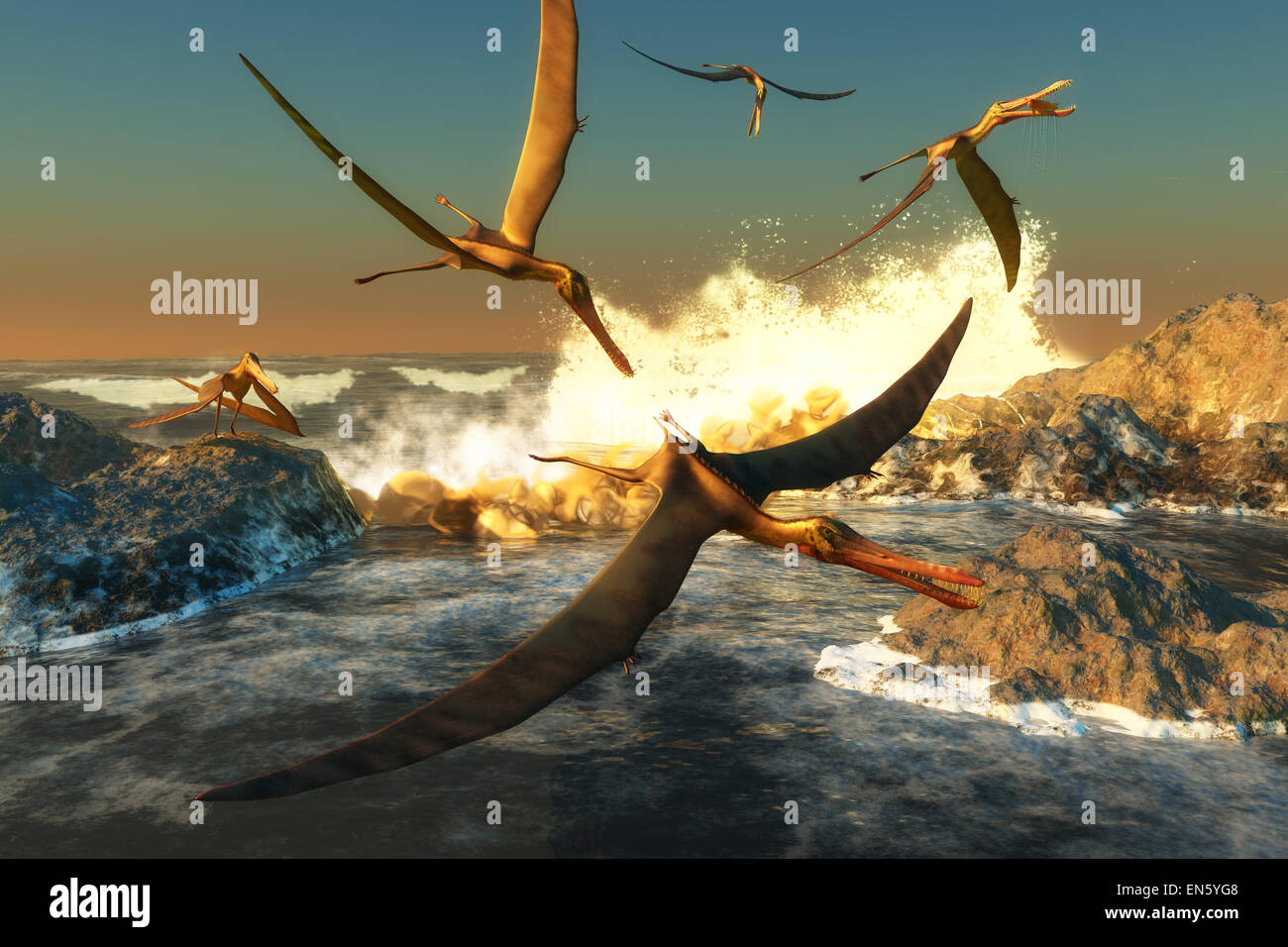 A flock of Anhanguera flying dinosaur reptiles catch fish off a rocky coast in prehistoric times. Stock Photo