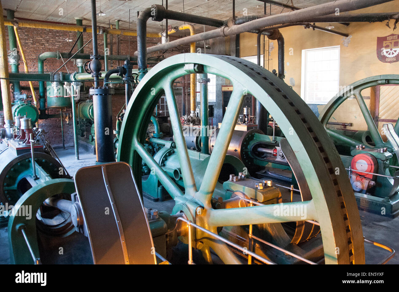 Veteran refrigeration plant preserved at The Singular Hotel Patagonia, a former meatworks outside Puerto Natales - Stock Image
