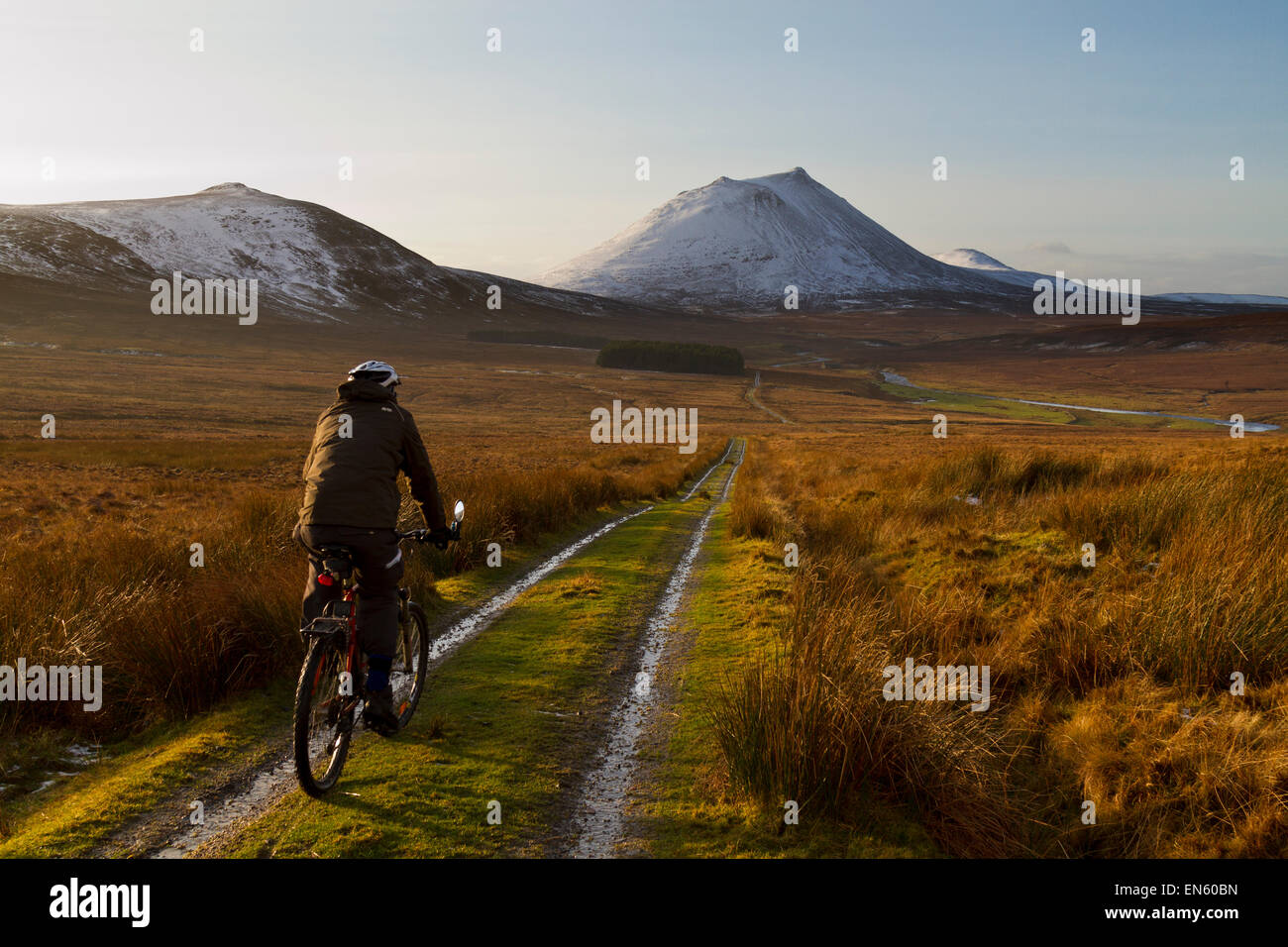 Cycling in Caithness, North Scotland - Stock Image