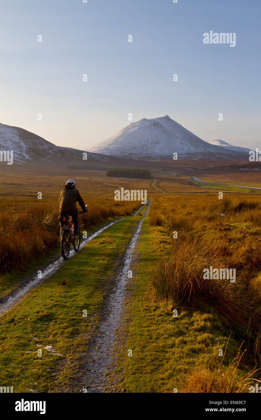 Trail cycling in Caithness, North Scotland - Stock Image
