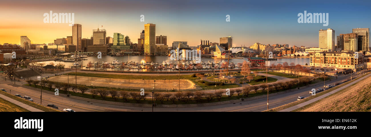 Baltimore skyline panorama at sunset, as viewed from Federal Hill - Stock Image