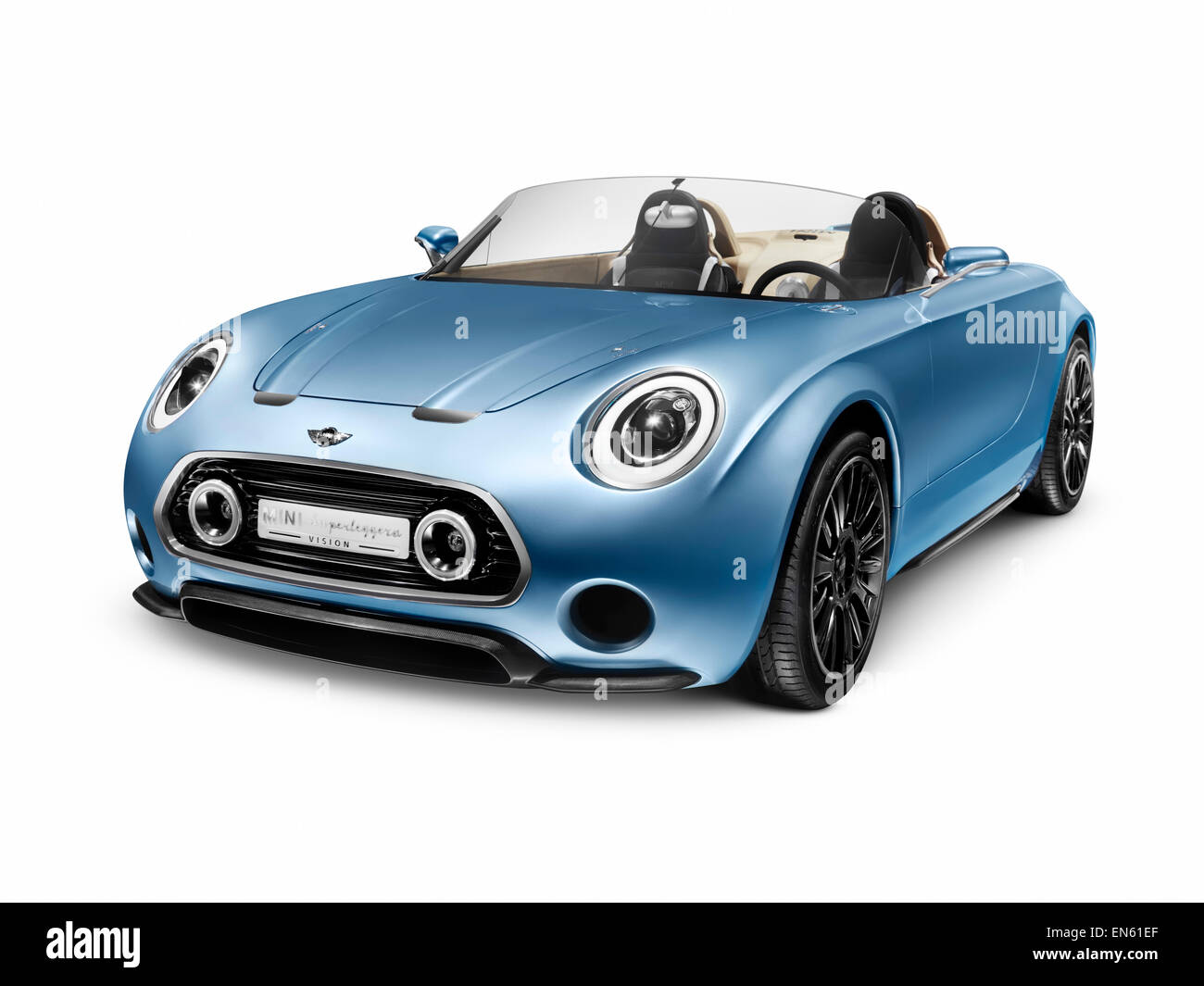 2015 MINI Superleggera Vision compact roadster British-Italian concept car isolated on white background with clipping - Stock Image