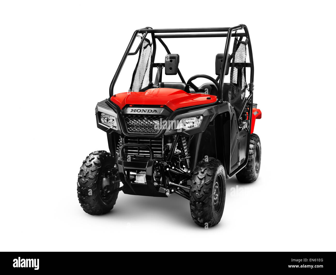 2015 Honda Pioneer 500 SxS ATV quad isolated on white background with clipping path - Stock Image