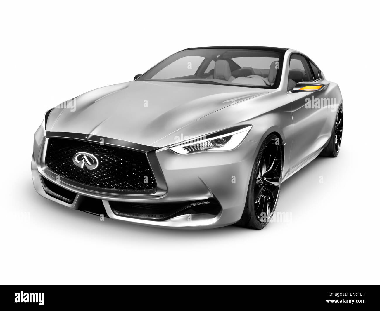 Silver 2015 Infiniti Q60 Coupe Luxury Car Isolated On White Stock