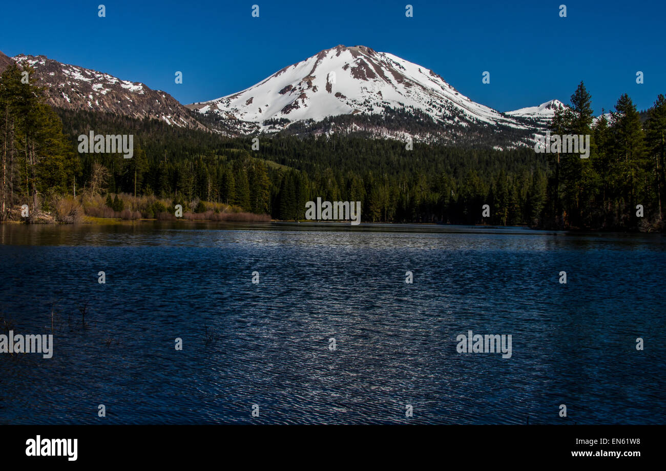 Manzanita Lake with My Lassen in the background - Stock Image