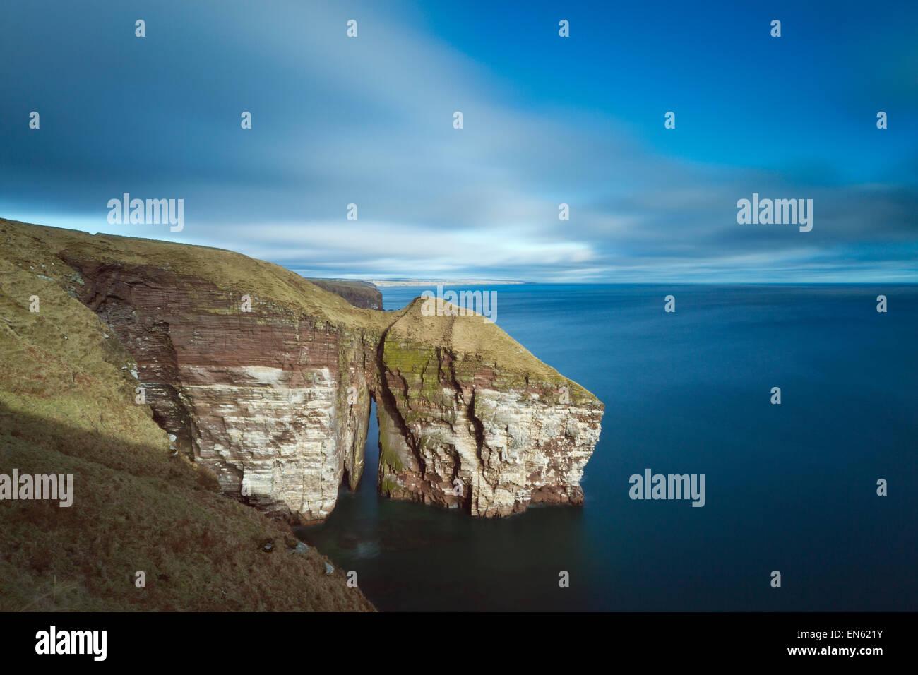 An Dun natural arch, Caithness - Stock Image