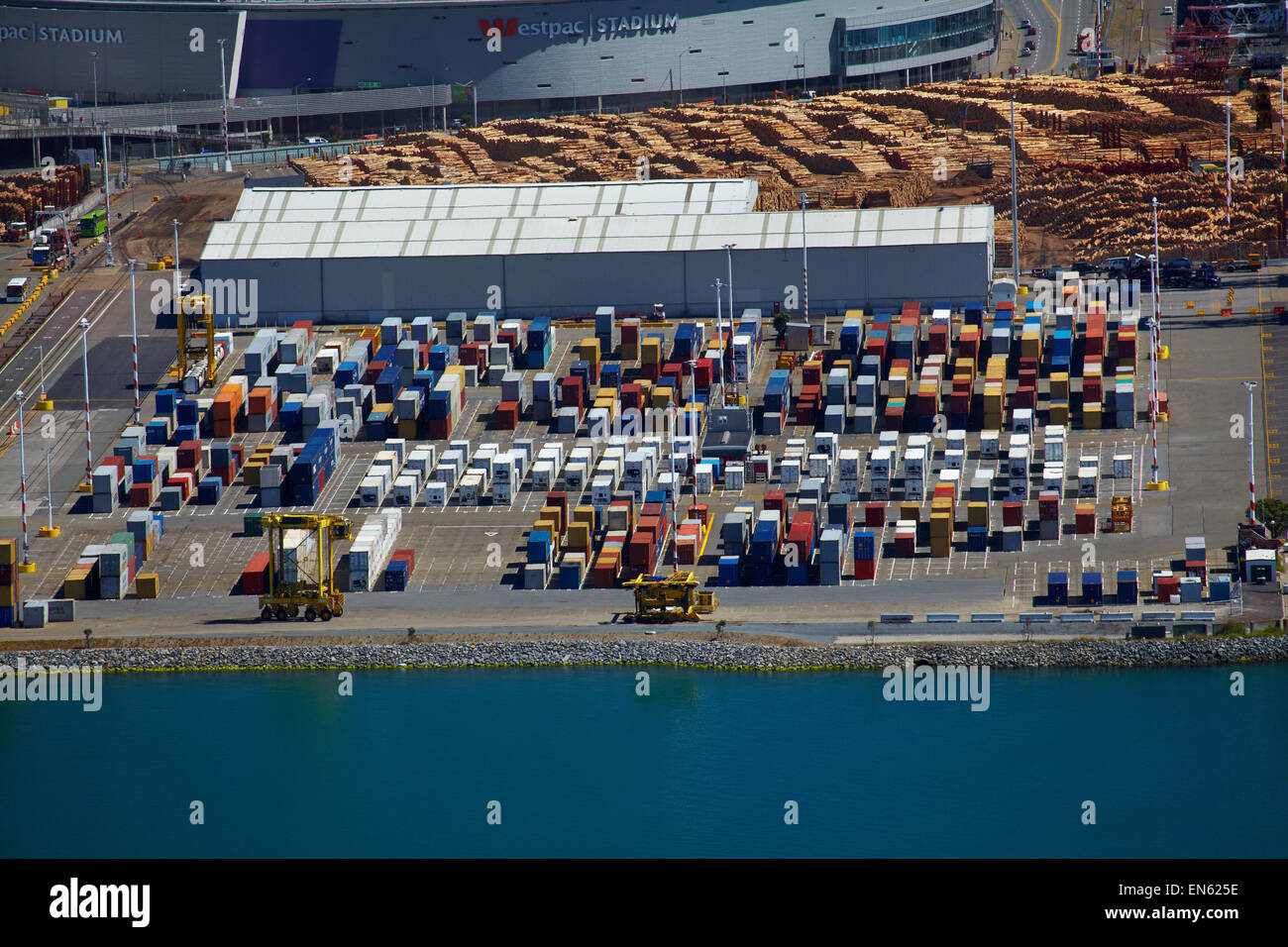 Stacks of shipping containers at Thorndon Container Terminal, Wellington, North Island, New Zealand. Stock Photo