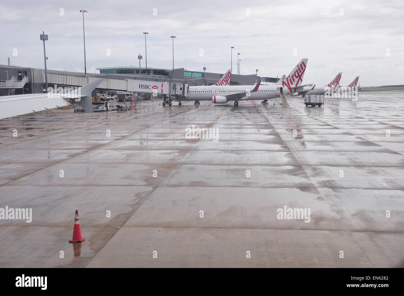 BRISBANE, AUSTRALIA: MARCH 8: commercial airliners from Virgin Airlines lined up on the tarmac on 8-3-2013 at Brisbane - Stock Image