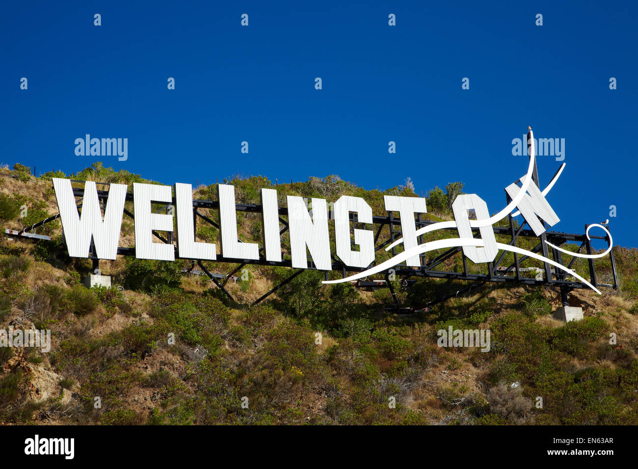 Windy Wellington sign, Lyall Bay, beside Wellington International Airport, Wellington, North Island, New Zealand - Stock Image