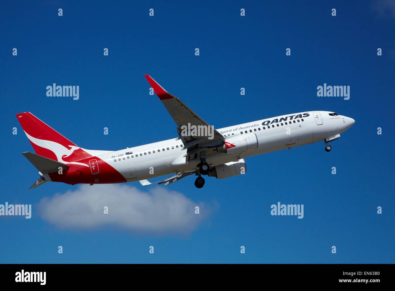 Qantas Boeing 737-800 taking off from Wellington International Airport, Wellington, North Island, New Zealand - Stock Image