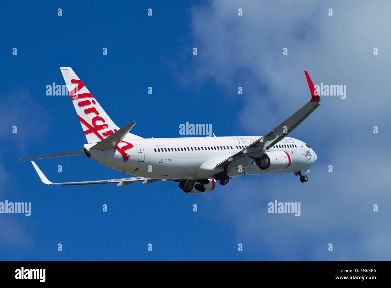 Virgin Australia Airlines Boeing 737-8FE taking off from Wellington International Airport, Wellington, North Island, - Stock Image