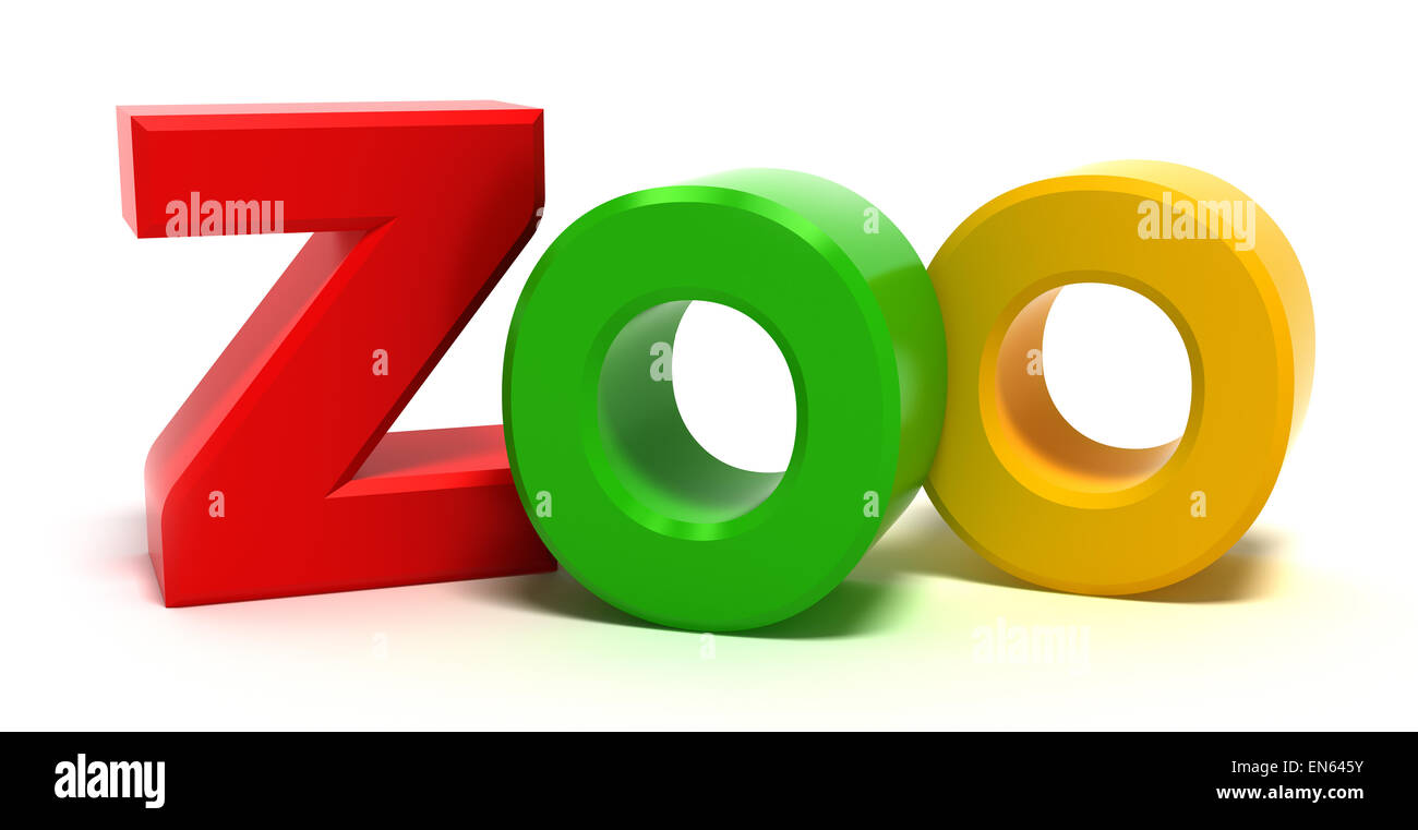 Word zoo with colourful letters  3D concept on white