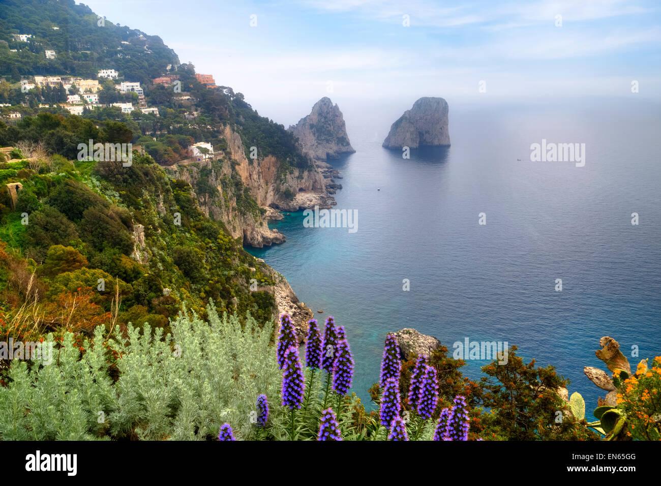 Faraglioni, Capri, Naples, Campania, Italy - Stock Image