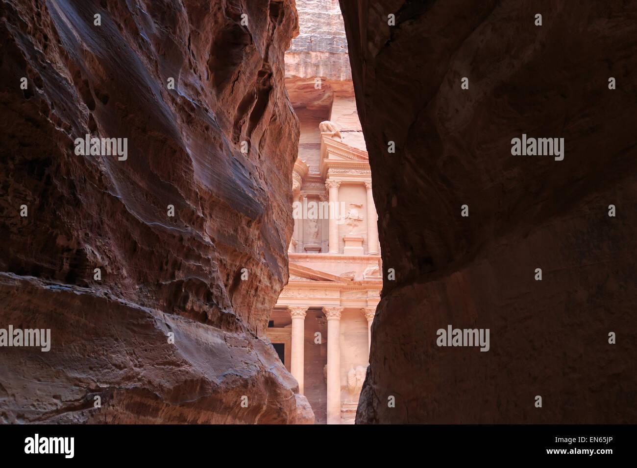 The Treasury,Al Khazneh, in Petra, Jordan - Stock Image