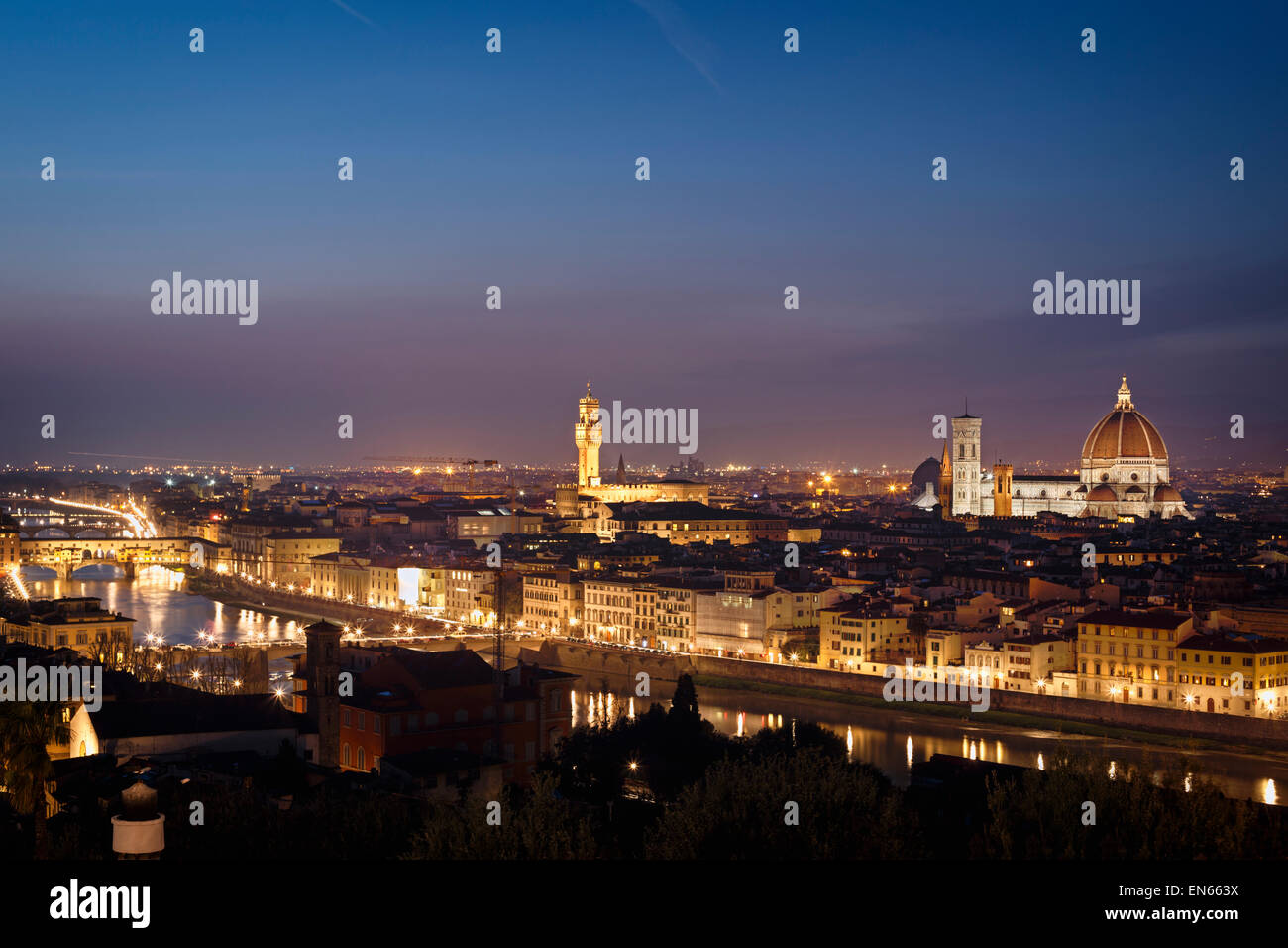 Florence at night with Ponte Vecchio, Duomo and Palazzo Vecchio, Tuscany, Italy. - Stock Image
