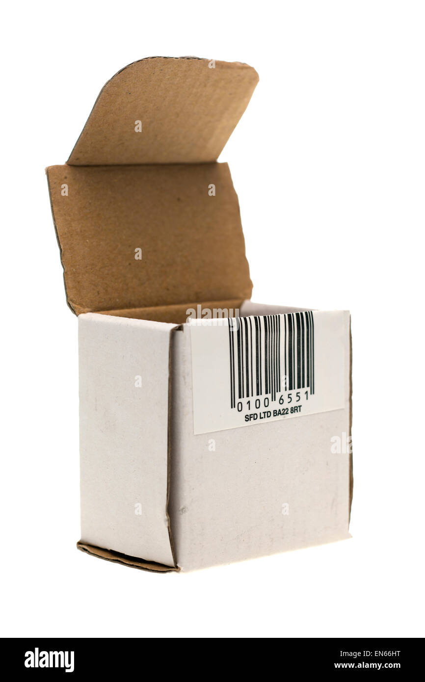 Small component flip top cardboard container and barcode - Stock Image
