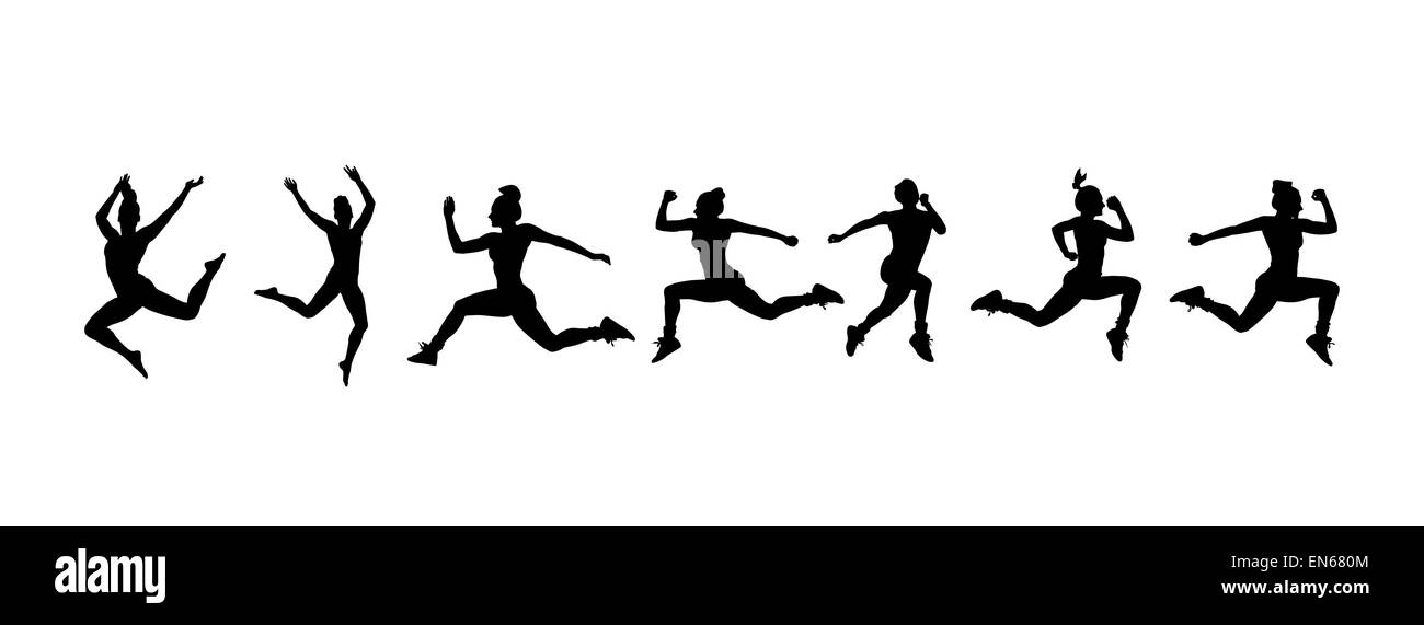 Silhouette of people working out vector - Stock Vector