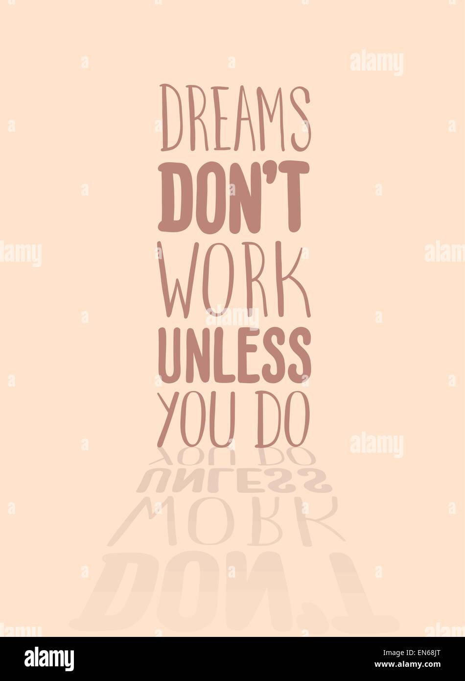 Motivational vector with dream text - Stock Image