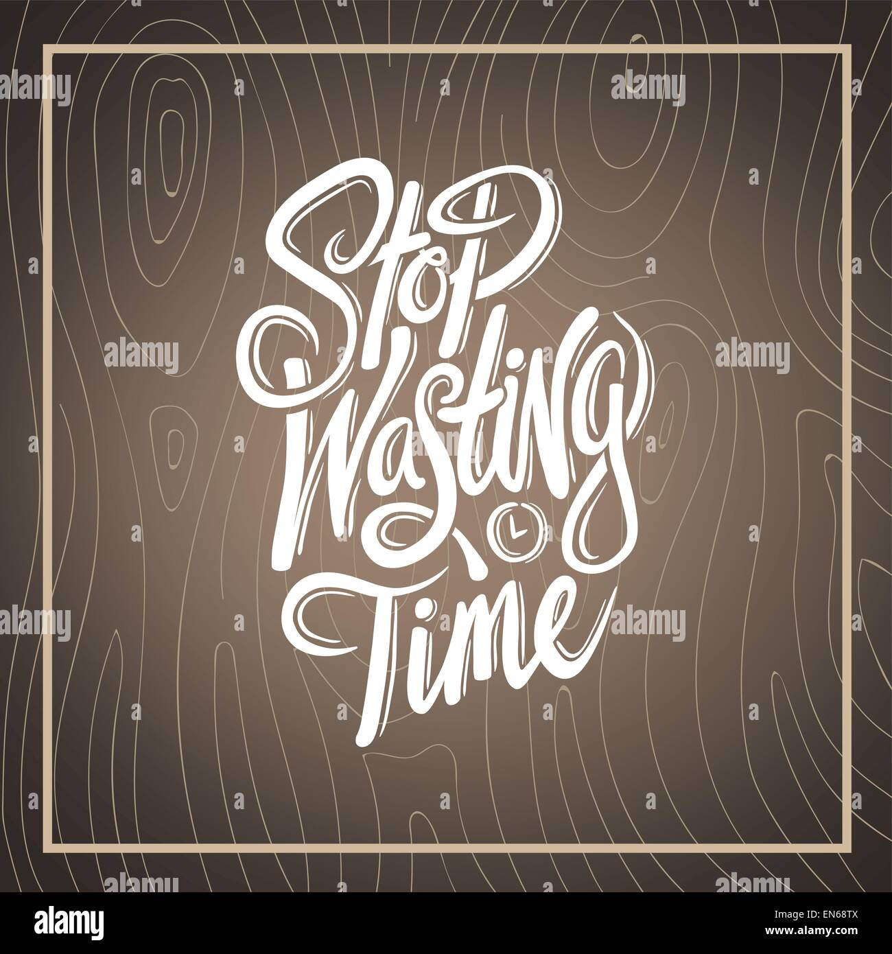 Stop wasting time vector - Stock Image
