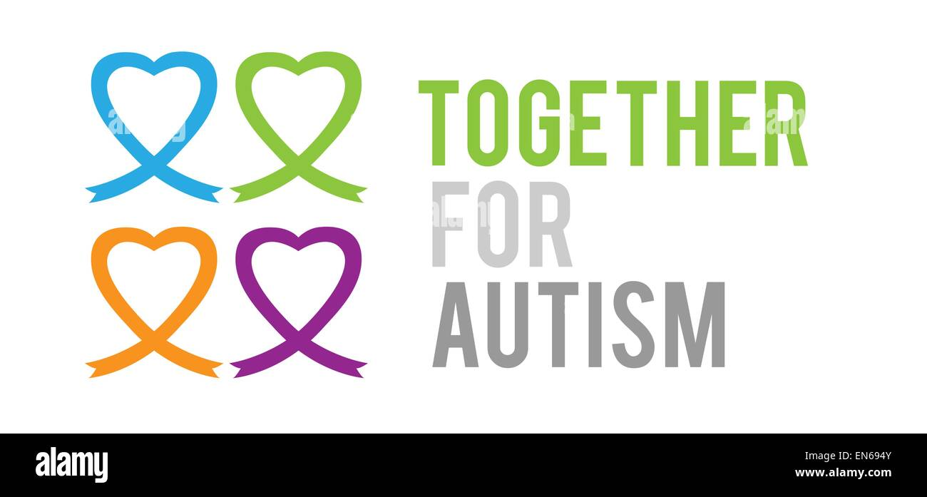 Together for autism vector - Stock Image