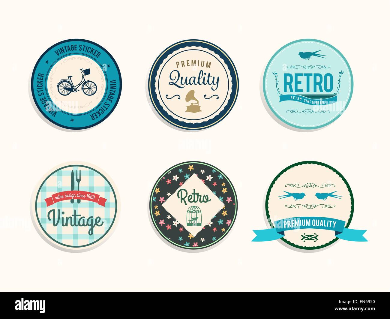 Retro styled retail badges vector - Stock Image