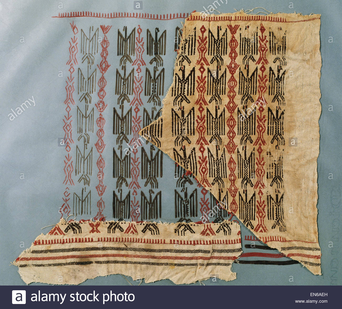 Textile. Hispano-Arabic. Piece of tissue with eagles. 12th-13th century. Linen and silk. From Collegiate of St. - Stock Image