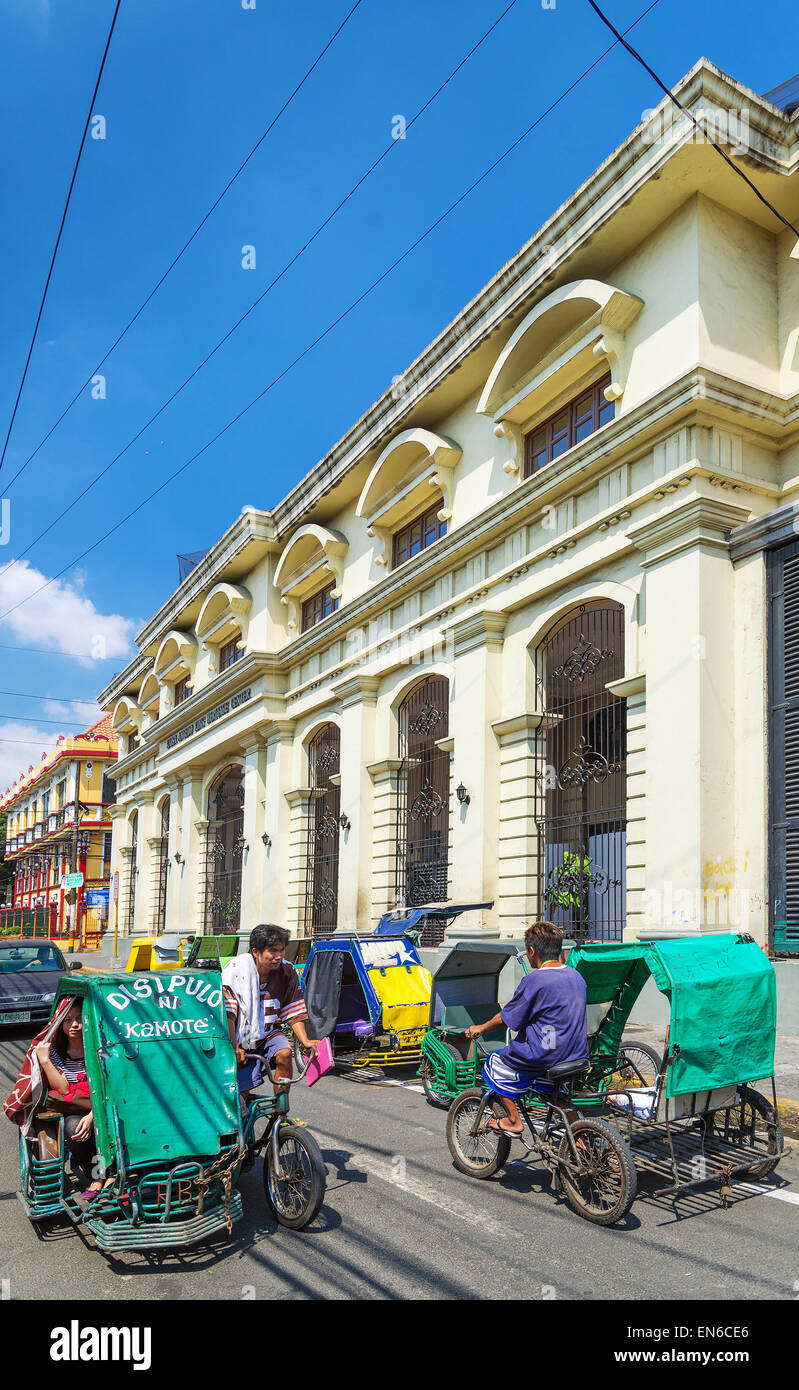 tricycle taxis in historic colonial intramuros area of manila philippines - Stock Image