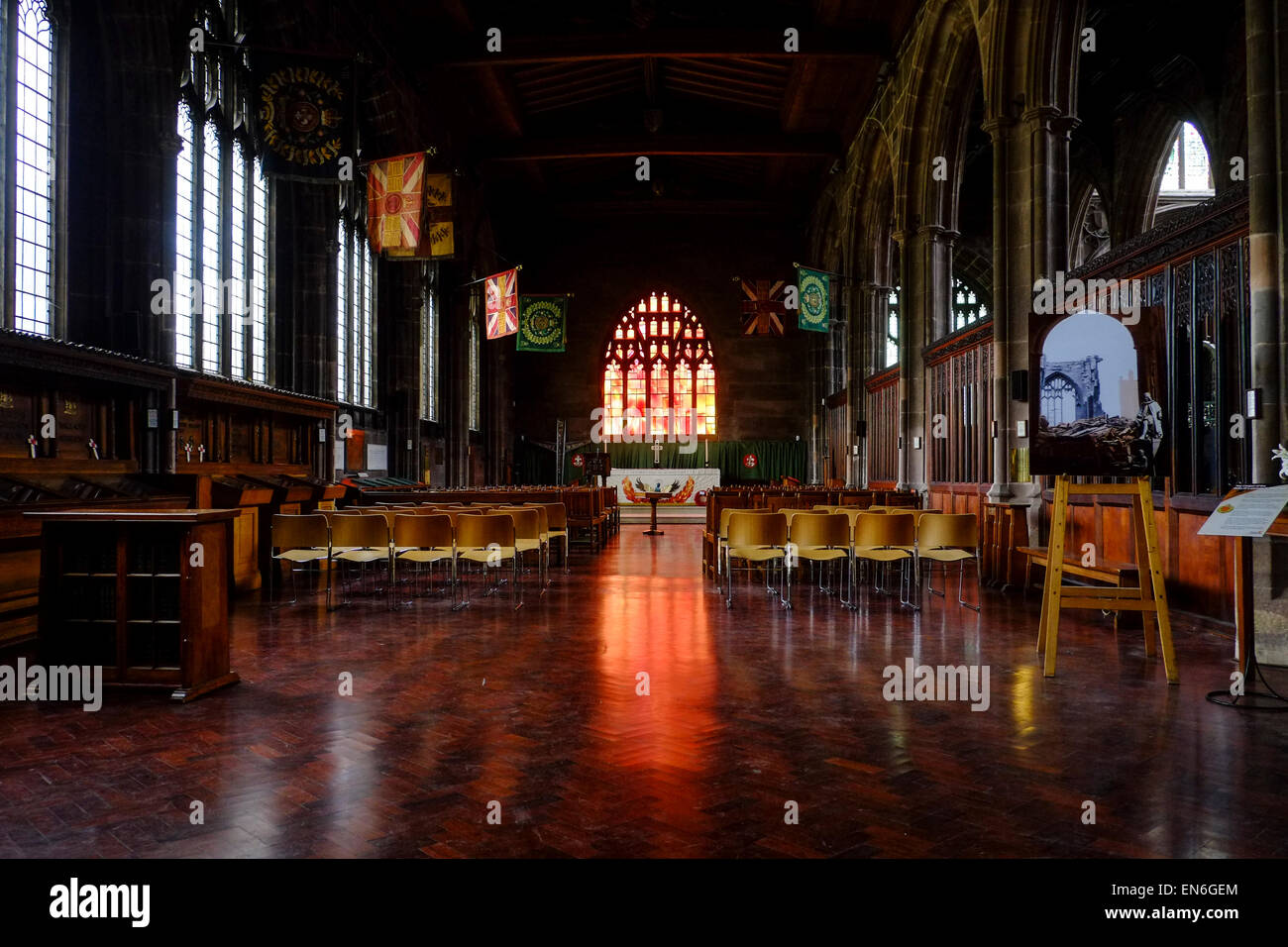 Manchester Cathedral's Fire Window - Stock Image