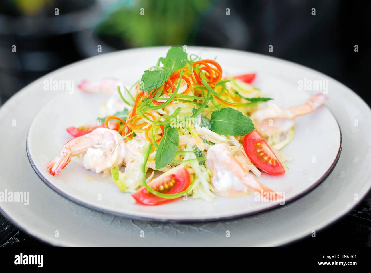 yum som o prawn and pomelo thai traditional salad - Stock Image