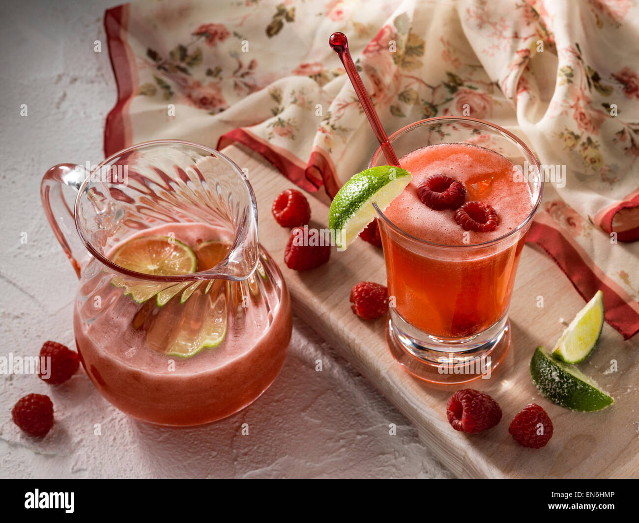 Raspberry lime spa water - Stock Image