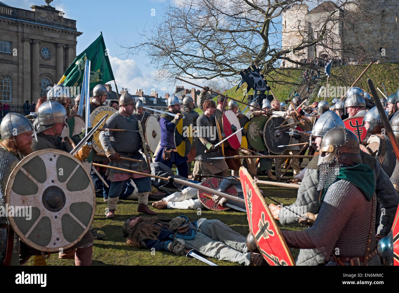 Vikings and Saxons in combat at the annual Viking Festival York North Yorkshire England UK United Kingdom GB Great - Stock Image