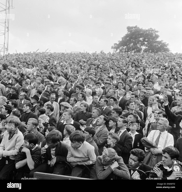 Fulham 1 v. Arsenal 3. Fulham fans at Craven Cottage 15th September 1962 - Stock Image