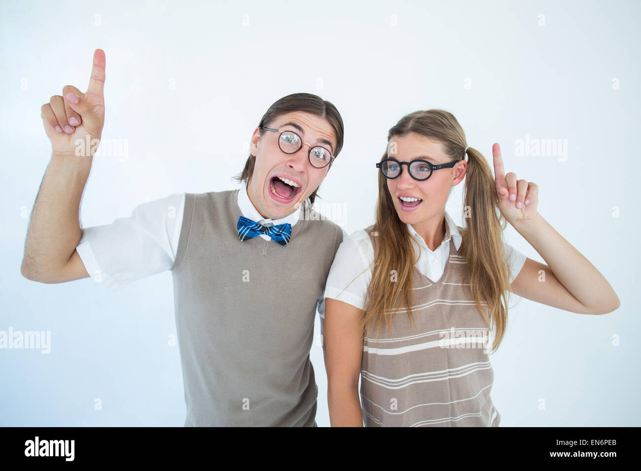 Geeky hipsters pointing - Stock Image