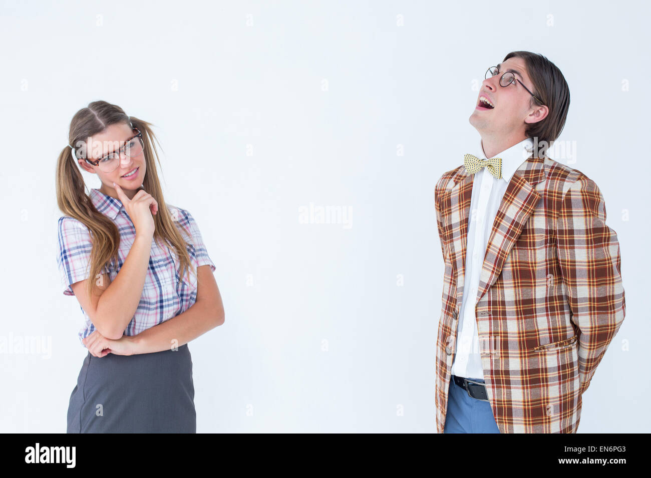 Thoughtful geeky hipsters - Stock Image