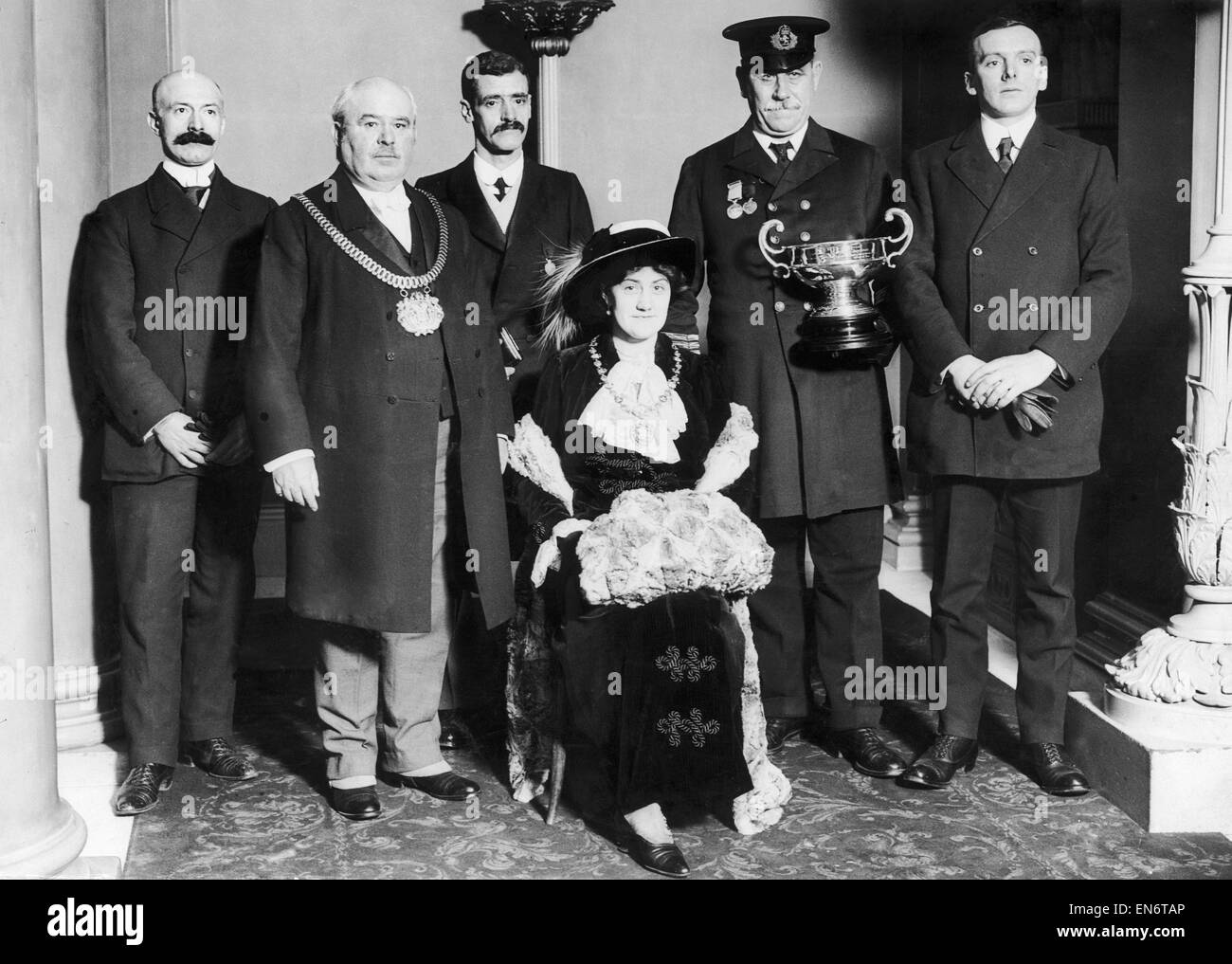 Chief Engineer A. B. Johnston of the SS Carpathia seen here after a presentation of a silver cup and medal by the - Stock Image