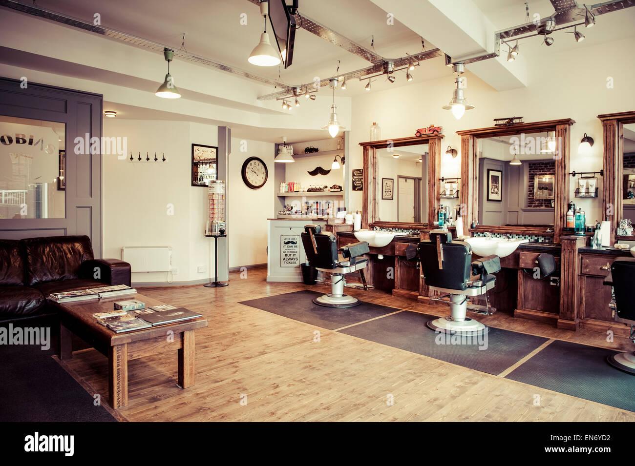 men s barber shop retro styled interior design stock photo rh alamy com interior barbershop design ideas barber shop shop interior design