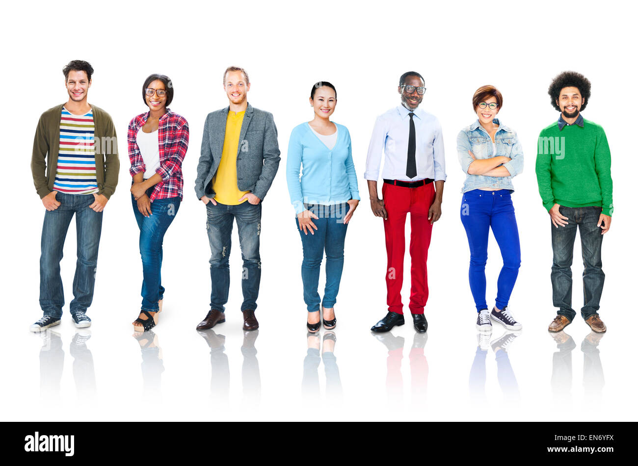 Group of Multiethnic Diverse Cheerful People - Stock Image