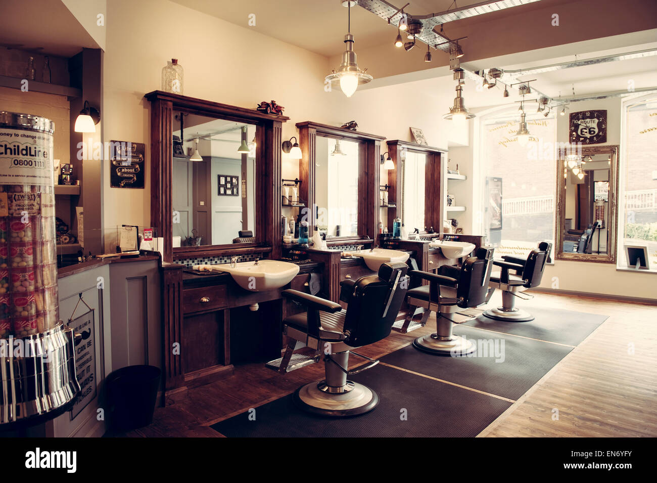 men 39 s barber shop retro styled interior design stock photo 81902575 alamy. Black Bedroom Furniture Sets. Home Design Ideas