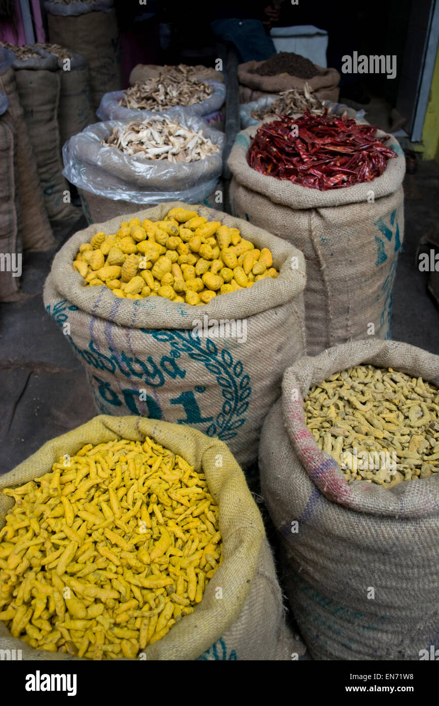 Sacks of dried chillies and turmeric root for sale at the market - Stock Image