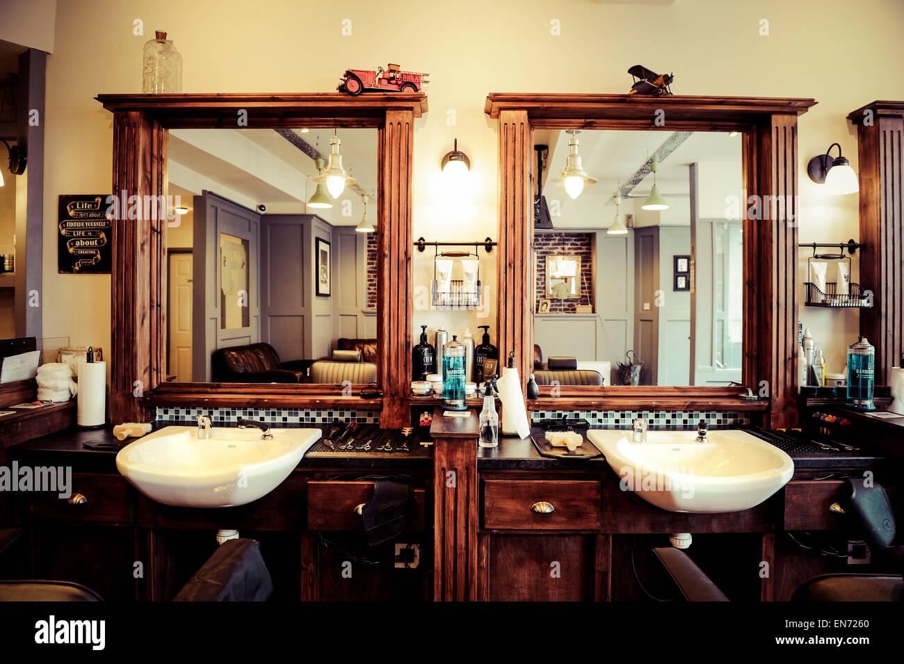 Men S Barber Shop Retro Styled Interior Design Stock Photo