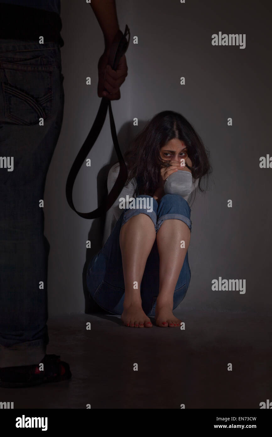 Physically abused woman - Stock Image