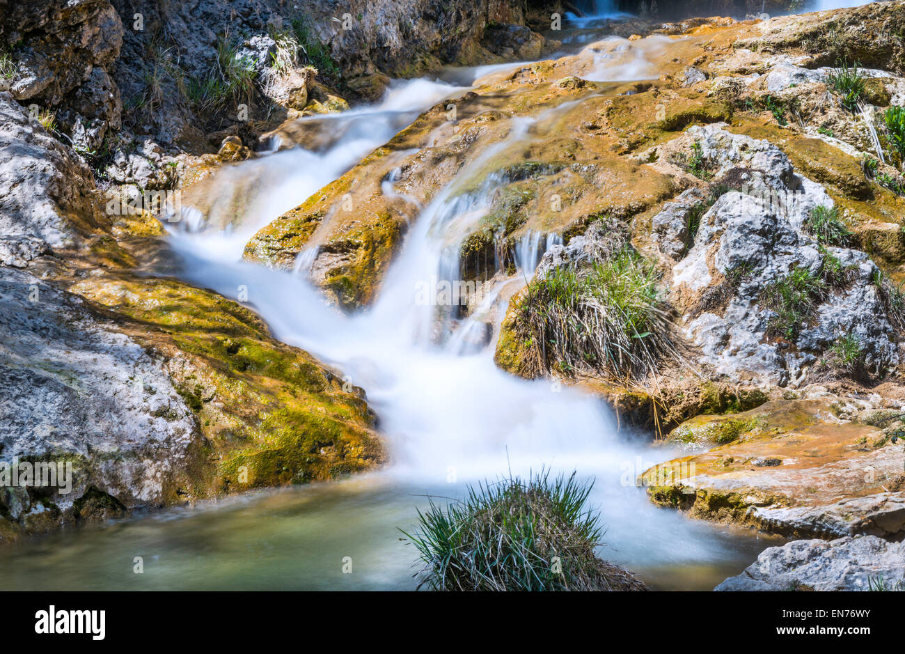 Waterfall on the River Guazalamanco, Cazorla Region, Jaen Province, Andalusia, Spain - Stock Image